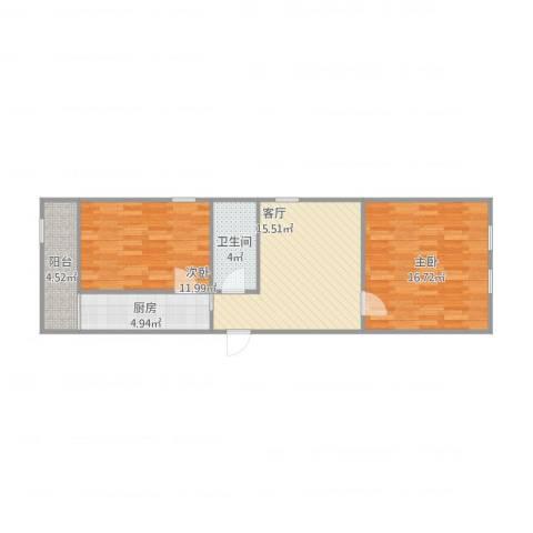 望海楼北里2室1厅1卫1厨62.46㎡户型图