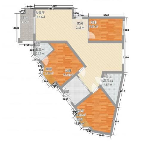 铜城丽都3室1厅2卫1厨90.56㎡户型图
