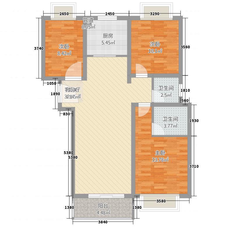 鑫苑景园115.70㎡景园高层G户型3室2厅2卫1厨