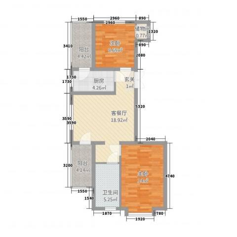 荣耀天地2室1厅1卫1厨88.00㎡户型图