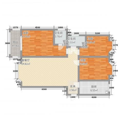铜城丽都3室1厅2卫1厨138.00㎡户型图