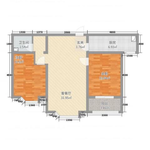 铜城丽都2室1厅1卫1厨70.73㎡户型图