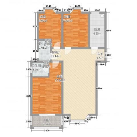 铜城丽都3室1厅2卫1厨93.14㎡户型图