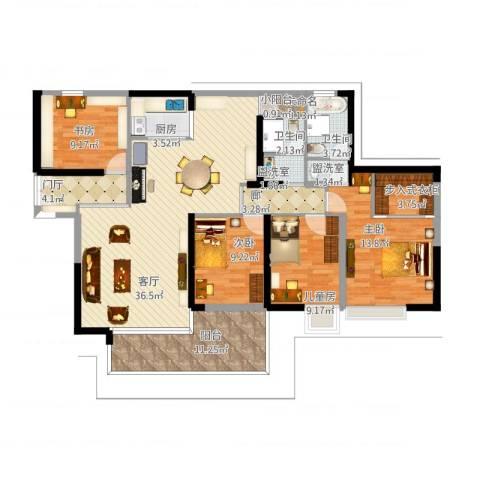 广州亚运城天誉4室3厅2卫1厨163.00㎡户型图