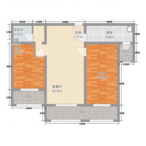 铜城丽都2室1厅1卫1厨84.46㎡户型图