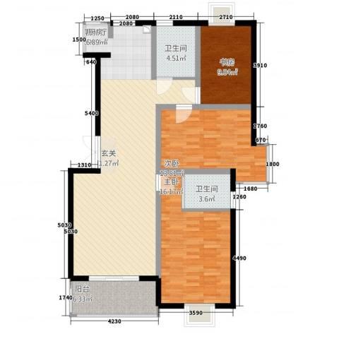 锦书清华里3室1厅2卫0厨132.00㎡户型图