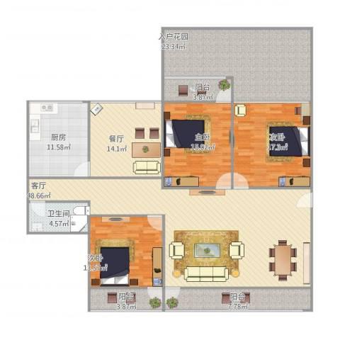 中铁十四局宿舍3室2厅1卫1厨219.00㎡户型图