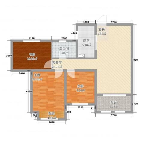 龙涛紫郡3室1厅1卫1厨112.00㎡户型图