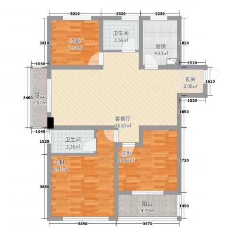 龙涛紫郡3室1厅2卫1厨116.00㎡户型图