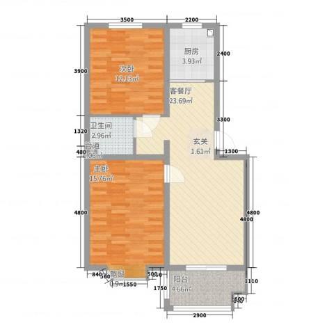 铜城丽都2室1厅1卫1厨63.50㎡户型图