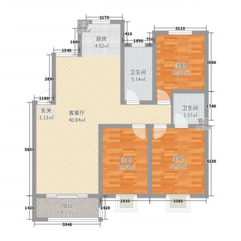广枫名苑3室1厅2卫0厨100.25㎡户型图