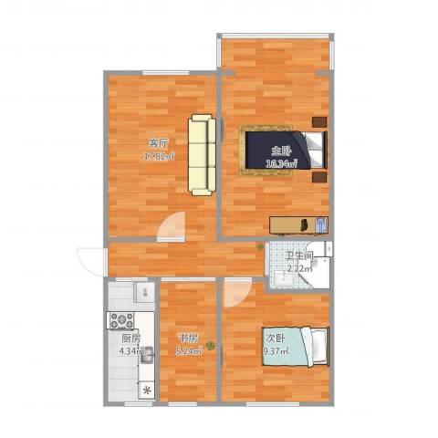 团结湖中路北一条3室1厅1卫1厨75.00㎡户型图