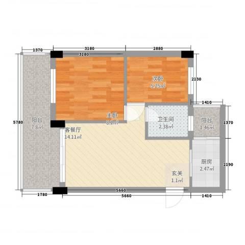 银骏豪庭2室1厅1卫1厨45.00㎡户型图