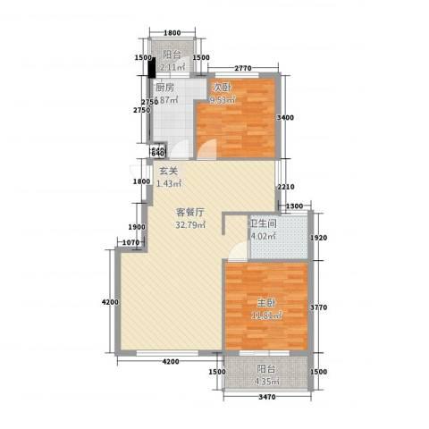 北京公园2室1厅1卫1厨98.00㎡户型图