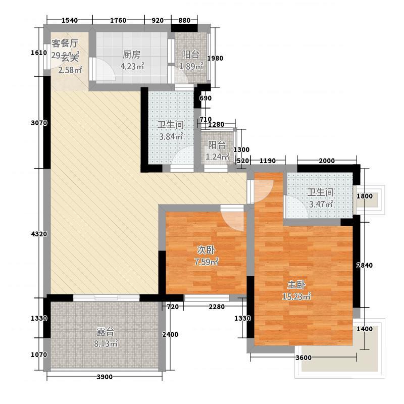 香榭里大道8.00㎡C2户型2室2厅2卫1厨