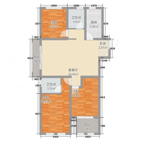 龙涛紫郡3室1厅2卫1厨123.00㎡户型图