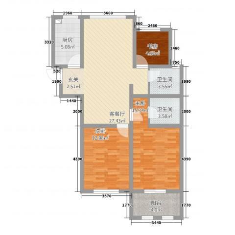 龙涛紫郡3室1厅2卫1厨118.00㎡户型图