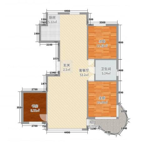 东庭印象3室1厅1卫0厨96.59㎡户型图