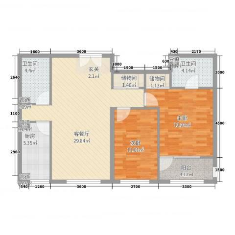 红华雅居2室1厅2卫1厨107.00㎡户型图