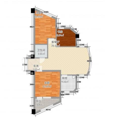 万马滨河城二期3室1厅1卫1厨94.00㎡户型图