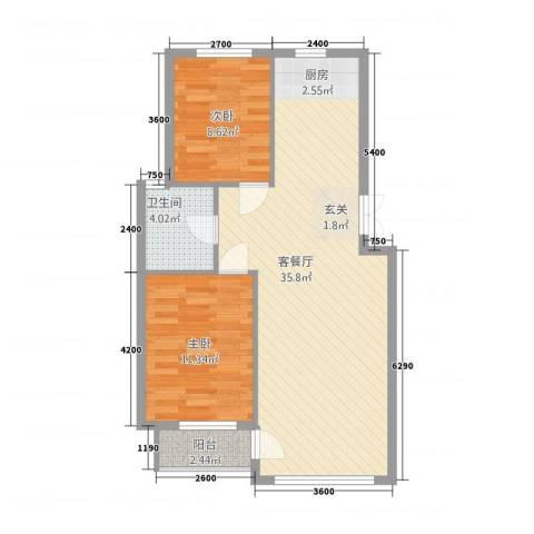 东庭印象2室1厅1卫0厨62.21㎡户型图