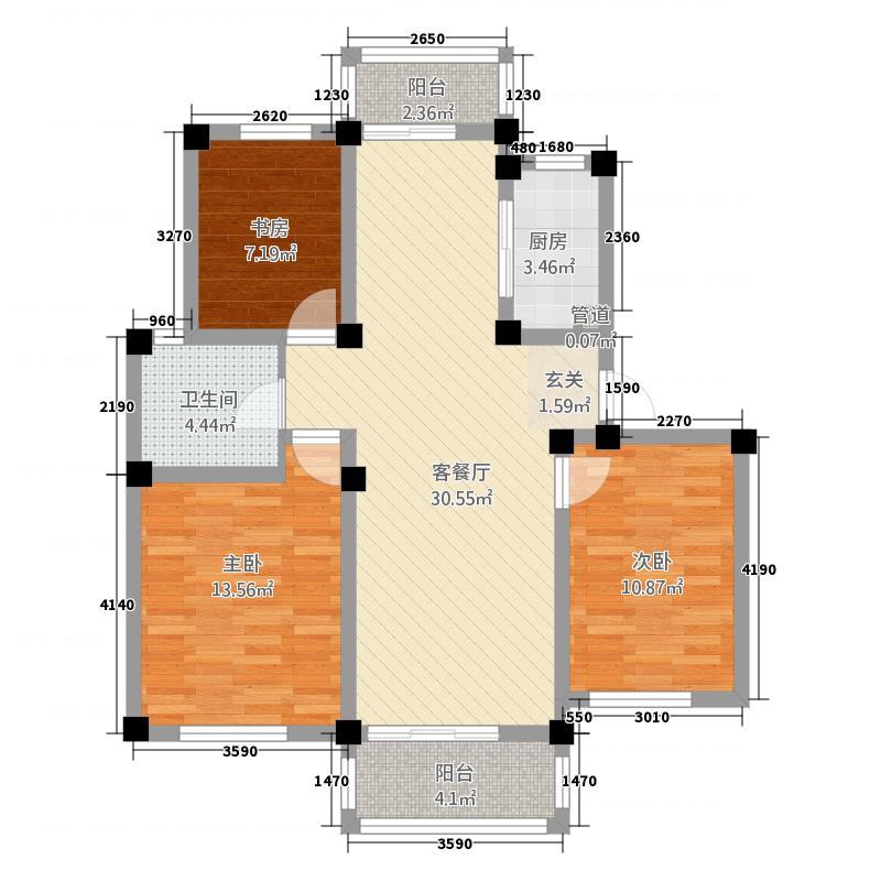 恒润新新家园112.00㎡B2户型3室2厅1卫1厨