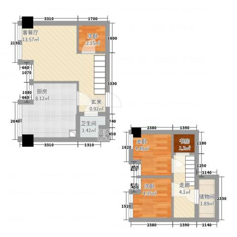誉天商务公寓4室1厅1卫1厨71.00㎡户型图