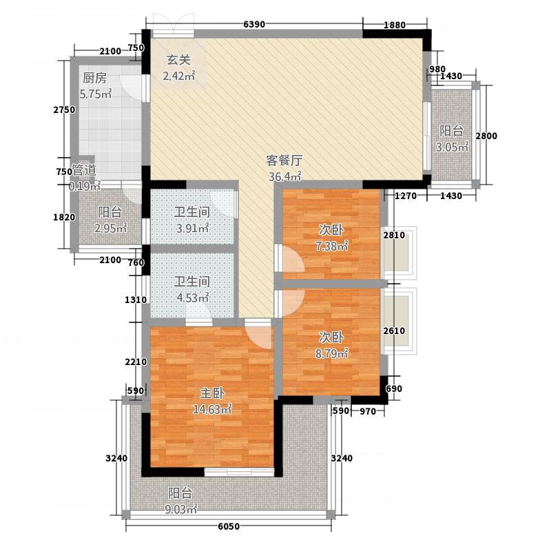兴隆誉峰74.60㎡六号楼B6户型1室2厅1卫1厨