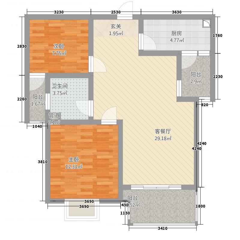 仓山万达广场户型2室