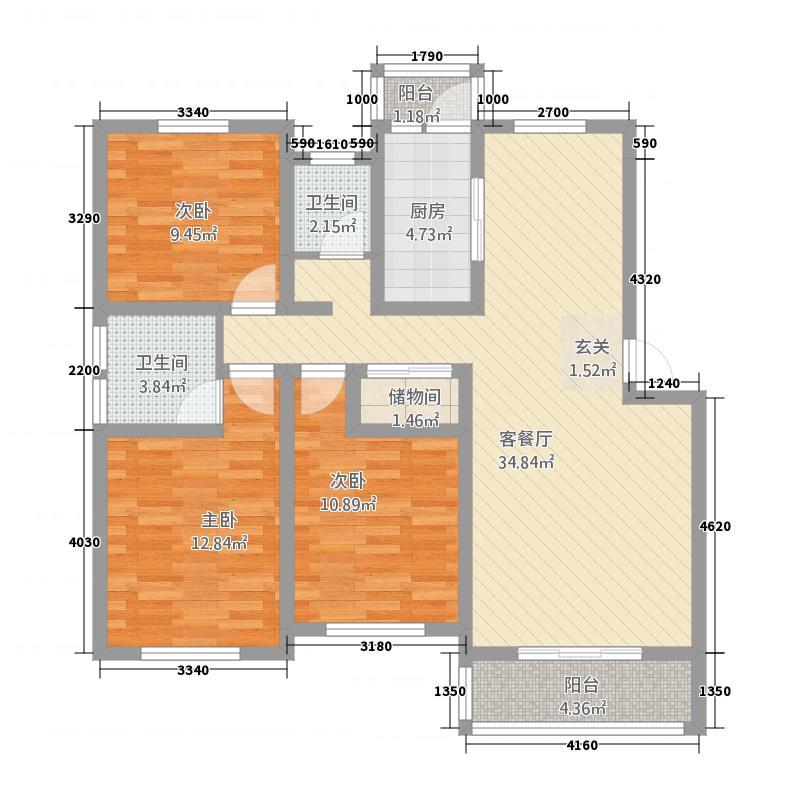 恒润新新家园126.00㎡A1户型3室2厅1卫1厨