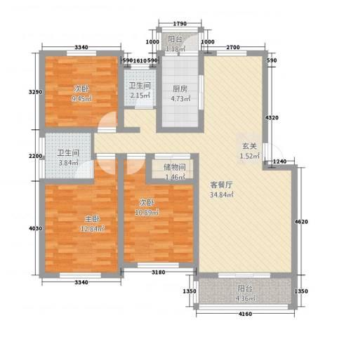 恒润新新家园3室1厅2卫1厨126.00㎡户型图