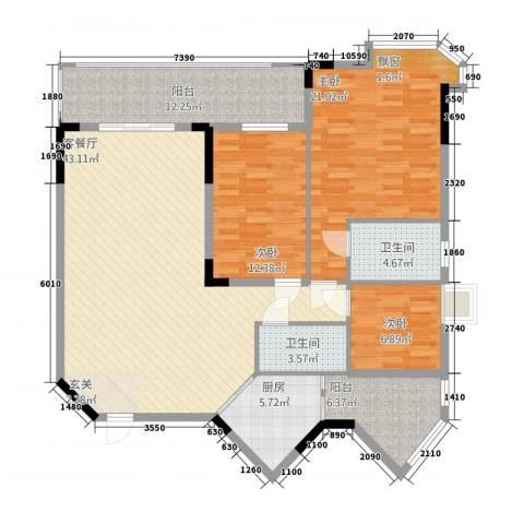 金翠峰1号3室1厅2卫1厨161.00㎡户型图