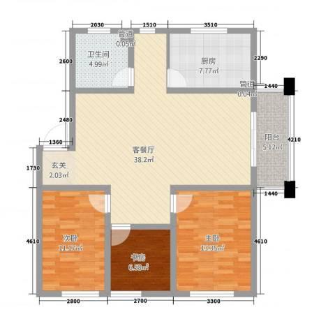 保利花园三期双河城3室1厅1卫1厨124.00㎡户型图