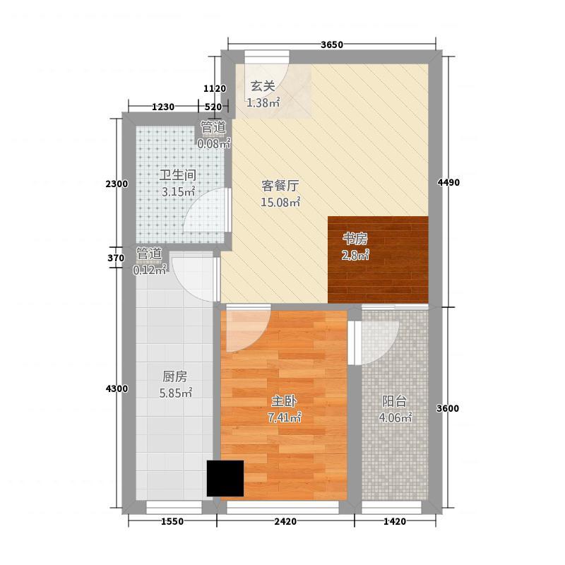 宾利国际星城52.14㎡A01户型1室1厅1卫