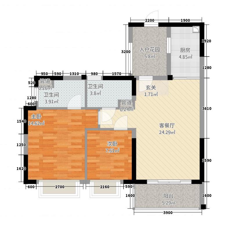 恒大城162.22㎡16号楼02户型2室2厅2卫1厨