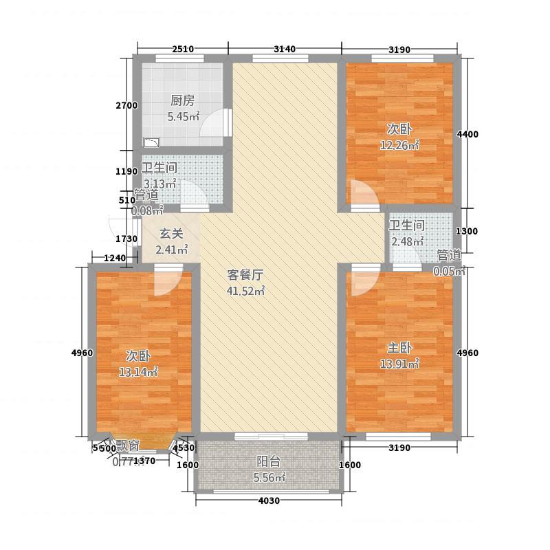 银龙康城13.00㎡B户型3室2厅2卫1厨