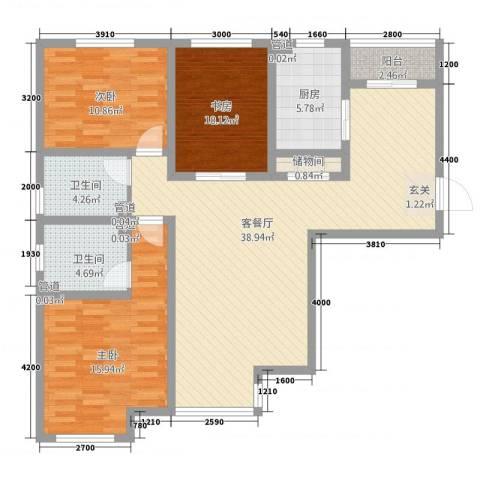 和平银座3室1厅2卫1厨136.00㎡户型图