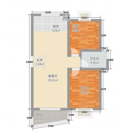 奥体中心公寓2室1厅1卫0厨66.14㎡户型图