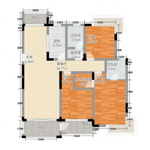 怡景万家3室2厅2卫1厨153.00㎡户型图