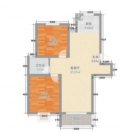 广枫名苑2室1厅1卫0厨77.44㎡户型图