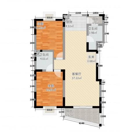 奥体中心公寓2室1厅2卫0厨112.00㎡户型图