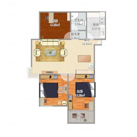 水木清华3室1厅1卫1厨108.00㎡户型图