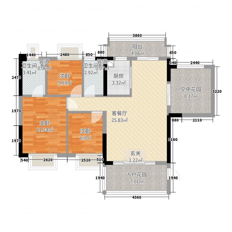 怡翠馨园113.20㎡嘉崇苑2座01单位户型3室2厅2卫1厨