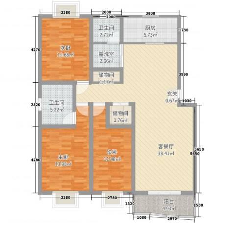 江城人家3室2厅2卫1厨145.00㎡户型图