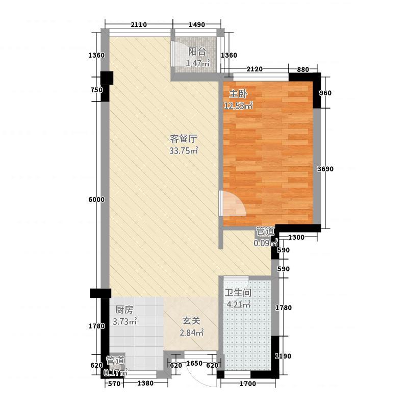 世纪半岛6.00㎡A户型1室2厅1卫1厨