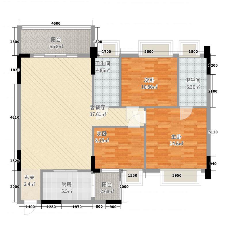 忠信丽雅苑121.16㎡1栋、2栋0户型3室2厅2卫1厨