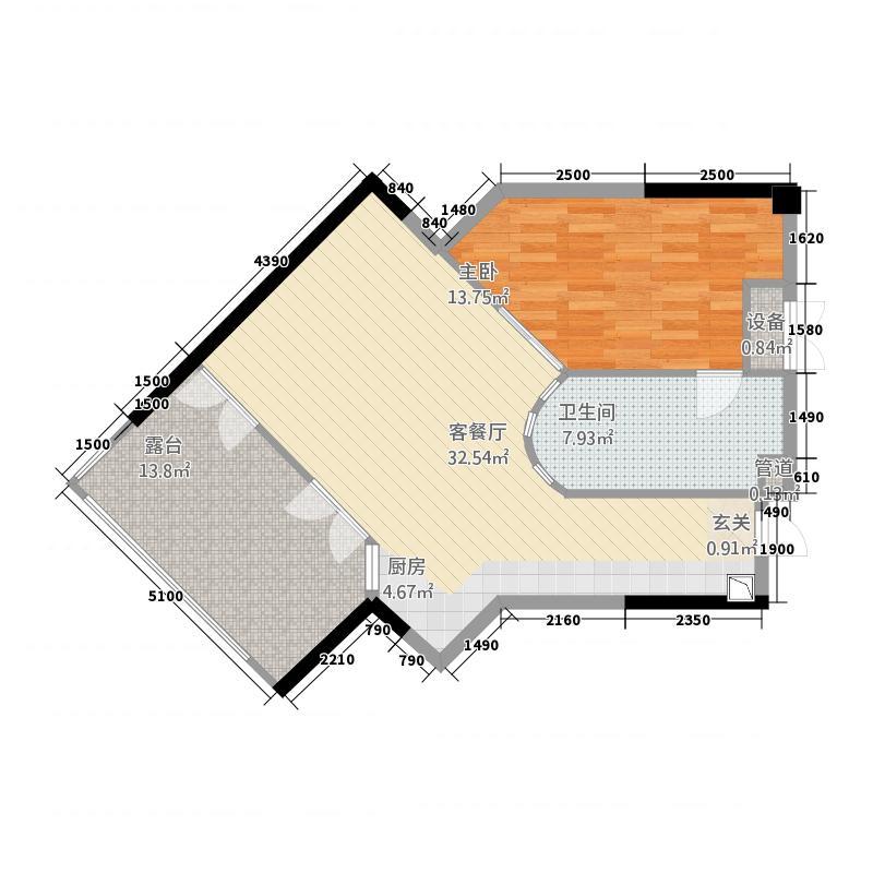雅居乐海南清水湾7.71㎡翰海银滩洋房SA3-E户型1室1厅1卫