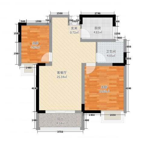 天成雅居2室1厅1卫1厨85.00㎡户型图