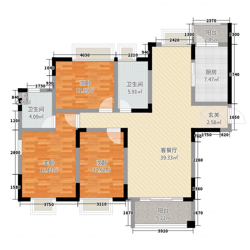 中旅蓝岸国际132.00㎡高层标准层户型3室2厅2卫1厨