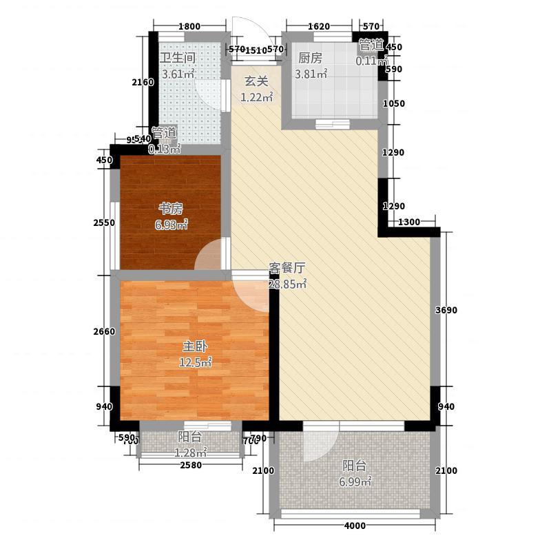 世纪半岛81.00㎡C户型2室2厅1卫1厨